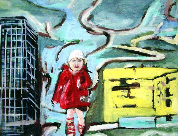 Ella rennt, Öl auf Leinwand, 2003, 34,5 x 44,5 cm