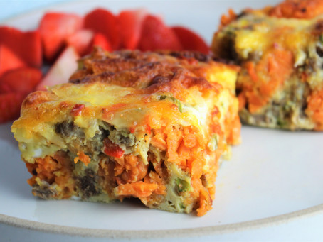 Turkey Sweet Potato-Tot Egg Bake