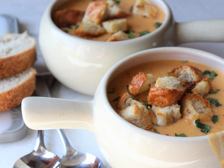 Beer Cheese Soup w/ Garlic Croutons