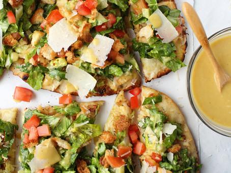 Chicken Caesar Salad Flatbread Pizzas