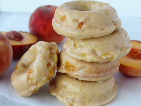 Baked Peach Donuts with Fresh Peach Glaze