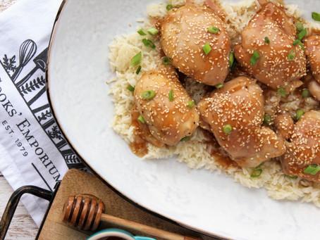Baked Honey Sesame Chicken Thighs