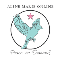 Aline Marie Online logo bird in a circle with a pink star