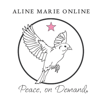 aline marie online peace on demand logo sparrow with pink star in a circle
