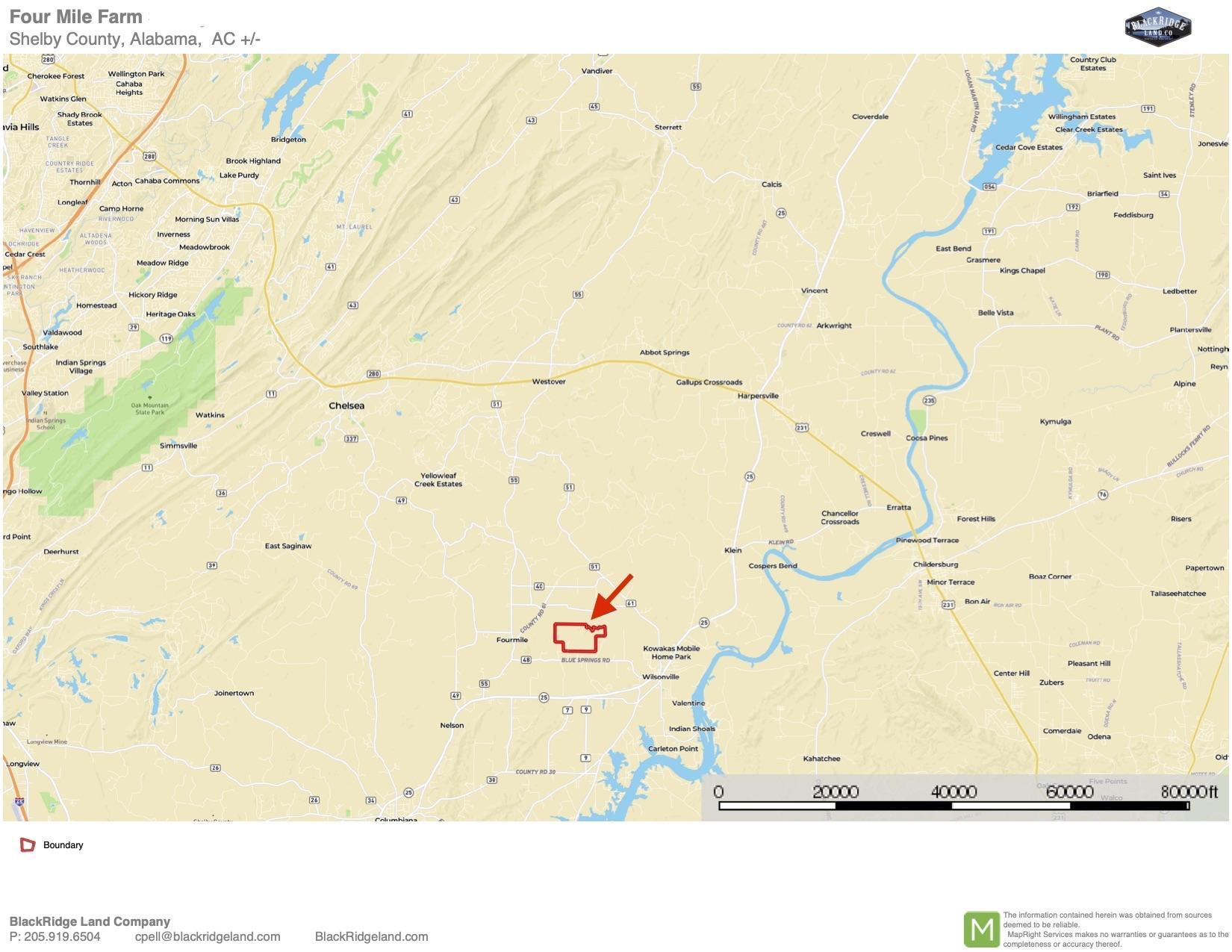Four Mile Farm Location Map