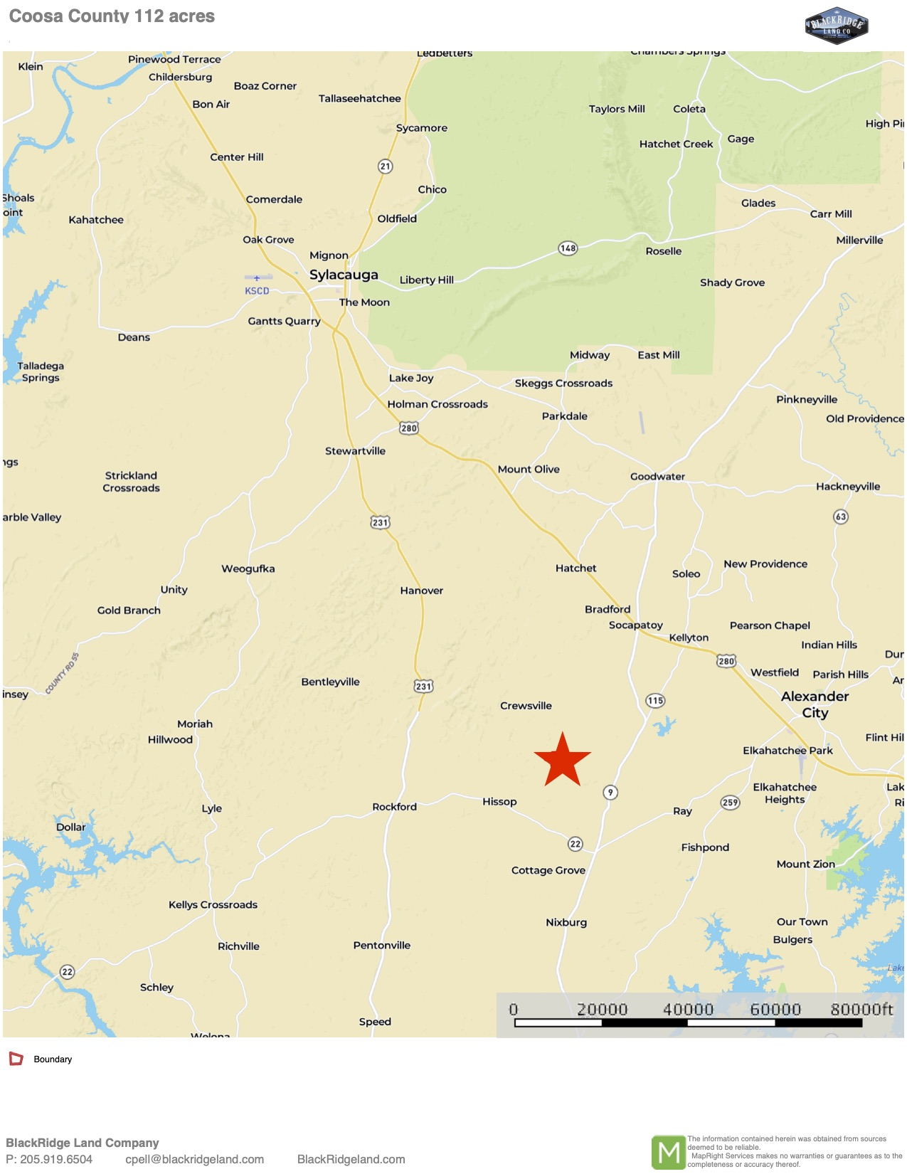 Coosa Co 112 Location Map
