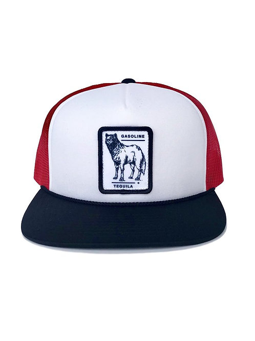 CITY WOLF TRUCKER HAT - RED AND WHITE