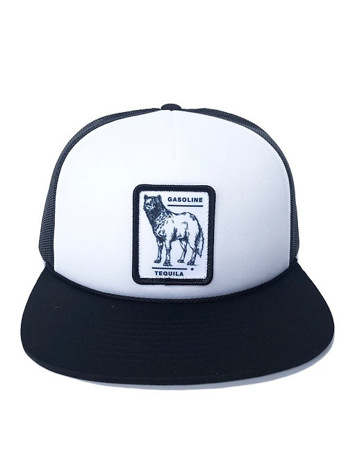CITY WOLF TRUCKER HAT - BLACK AND WHITE