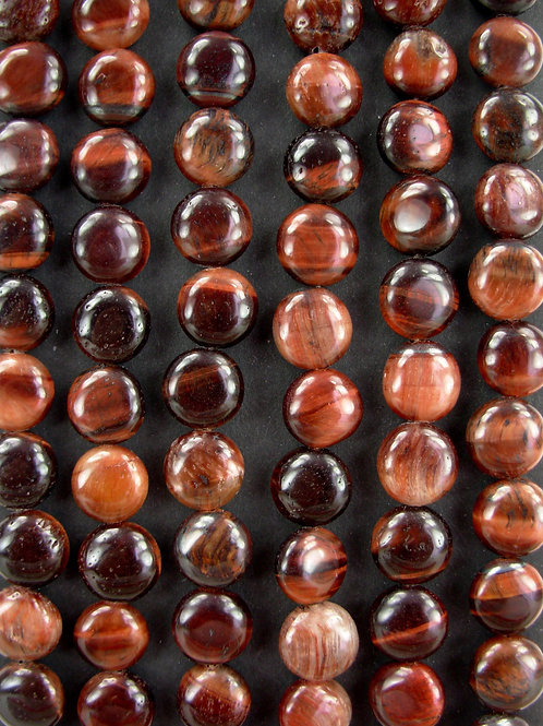 Red Tiger's Eye Gemstone Beads 10mm Coin