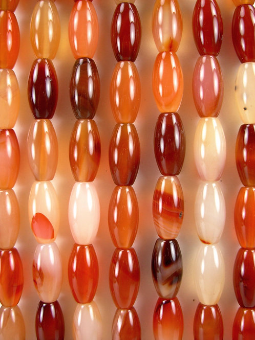 Parti-color Agate Gemstone Beads 16mm Rice