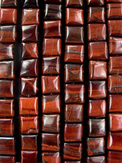 Red Tiger's Eye Gemstone Beads 10mm Square