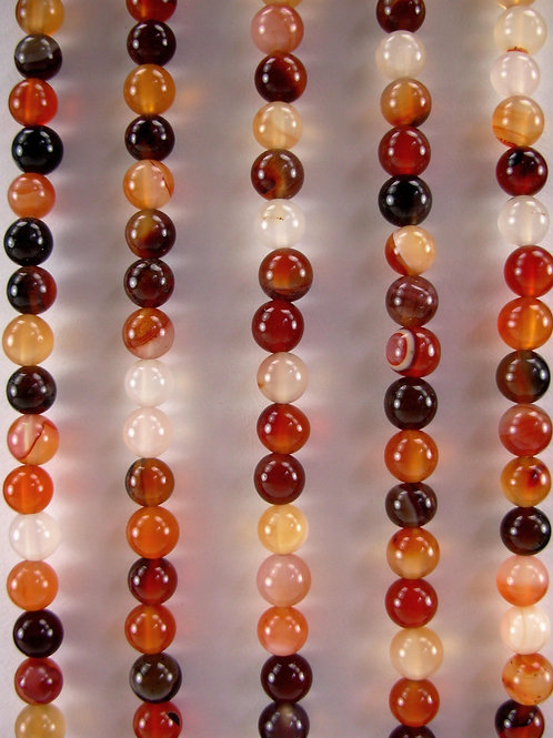 Parti-color Agate Gemstone Beads 8mm Round