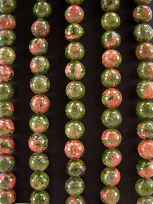 Unakite Gemstone Beads 8mm Round