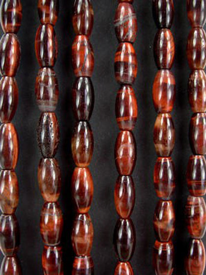 Red Tiger's Eye Gemstone Beads 14mm Rice