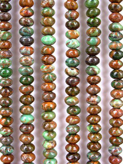 African Green Opal Gemstone Beads 8mm Rondelle