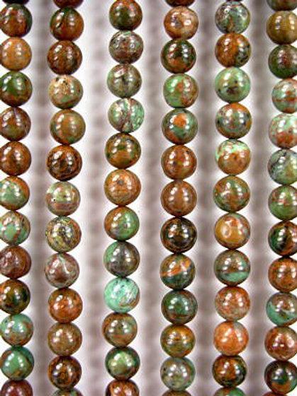 African Green Opal Gemstone Beads 8mm Round