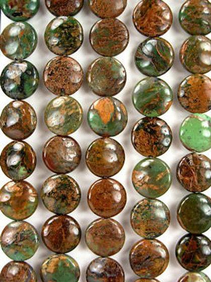 African Green Opal Gemstone Beads 14mm Coin