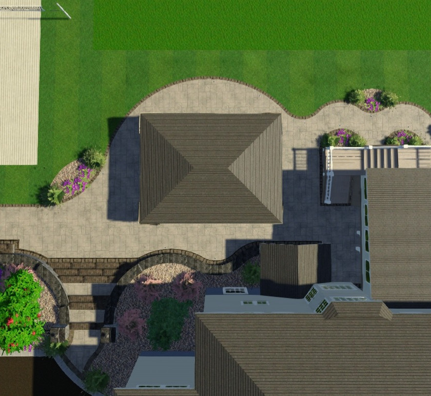 Pavers, retaining wall, covered roof, gazebo, deck, dry space, firepit, water feature