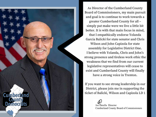 A message from Joe Derella,  Director of the Cumberland County Board of Commissioners