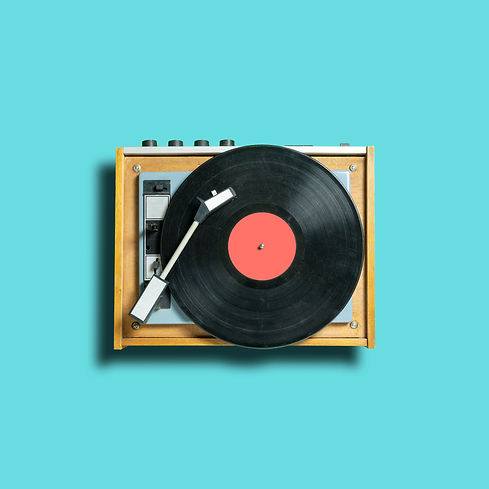 vintage vinyl disc record with coral lab
