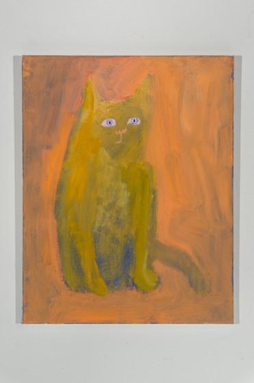 Scaredy Cat - Blue Eyes, 20 x 16, oil on canvas, 2021
