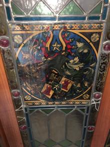 Vitraux 18ème siècle montés en paravent à restaurer