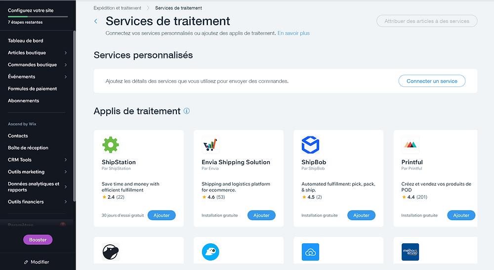 Configuration des moyens de livraison, création d'une e-boutique via wix ecommerce