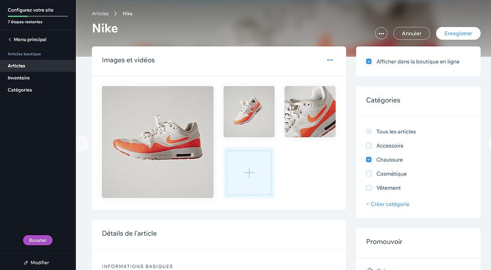 Gestion de catalogue, création d'une e-boutique via wix ecommerce