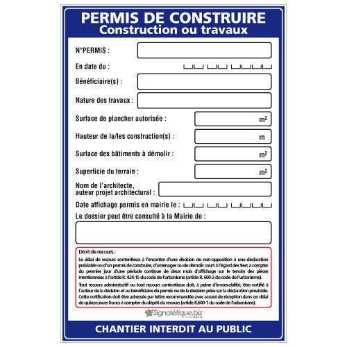 Exemple de panneau de permis de construire