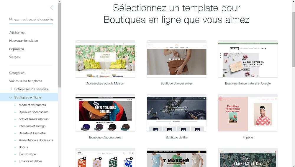 Choix d'un template lors de la création de son site vitrine, création d'une e-boutique via wix ecommerce