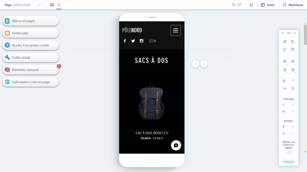 Optimisation de son site vitrine via wix a différent support, création d'une e-boutique via wix ecommerce