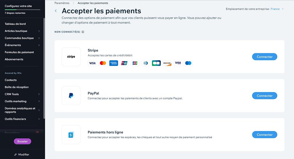configuration des moyens de paiement, création d'une e-boutique via wix ecommerce