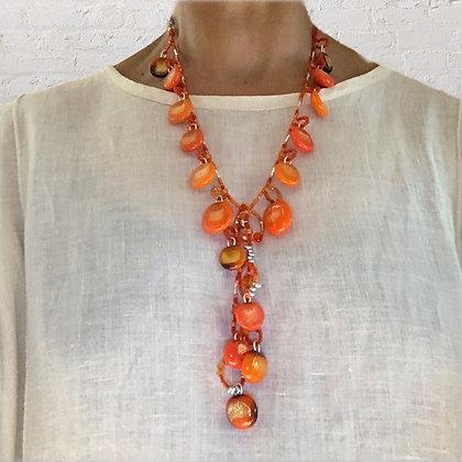 Loopy Orange 2-Piece art necklace