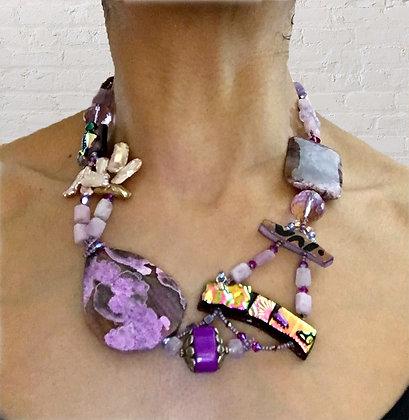 Pinky Purple Art Necklace