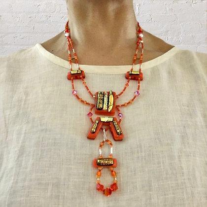 Aztec Orange 2-Piece art necklace