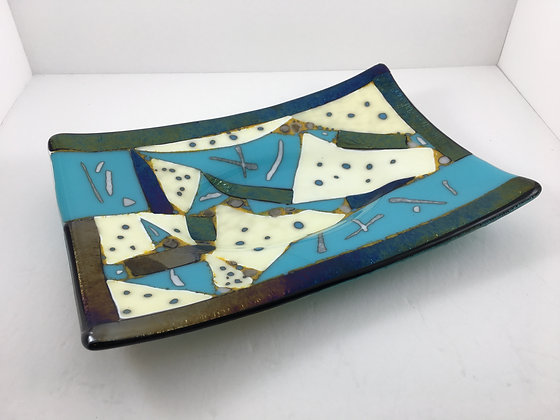 """small fused glass dish """"quilt"""""""