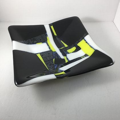 "fused glass shallow bowl ""street race"""