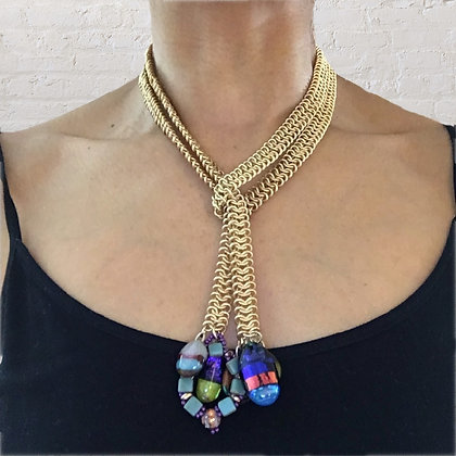 Woven Gold Chain Lariat