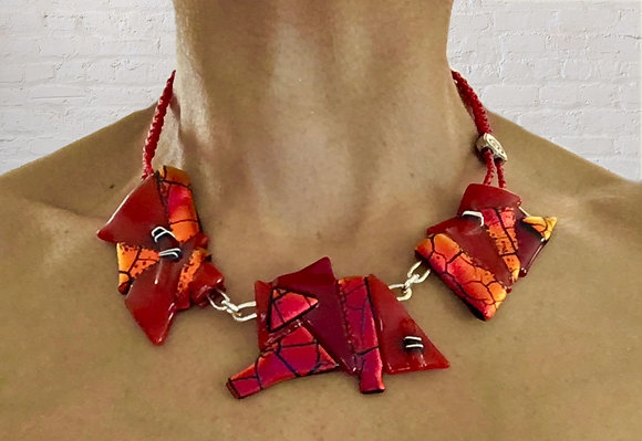 Red Fused Glass Necklace
