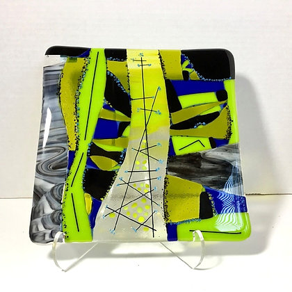 "fused glass art plate ""electric lines"""