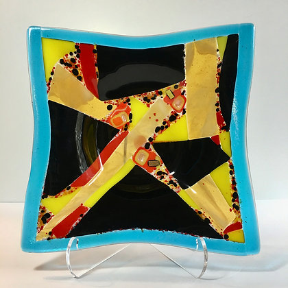 "fused glass square bowl ""really?"""