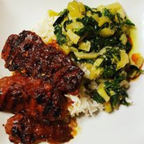 Korean Style Short Ribs with wilted Bok Choy and Rice