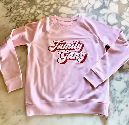 Family Gang Sweatshirt Dames Roze Rood Wit