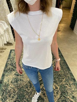 T-shirt épaulette Blanc/Noir