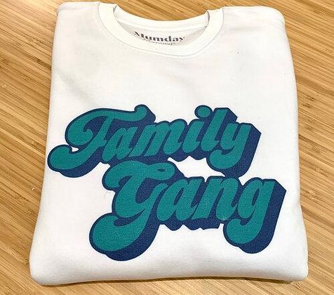 Sweat Family Gang Femme/Homme Blanc Bleu