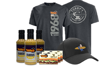 Tubby's Famous Sauce, t-shirts, hats, and gift cards availale for purchae