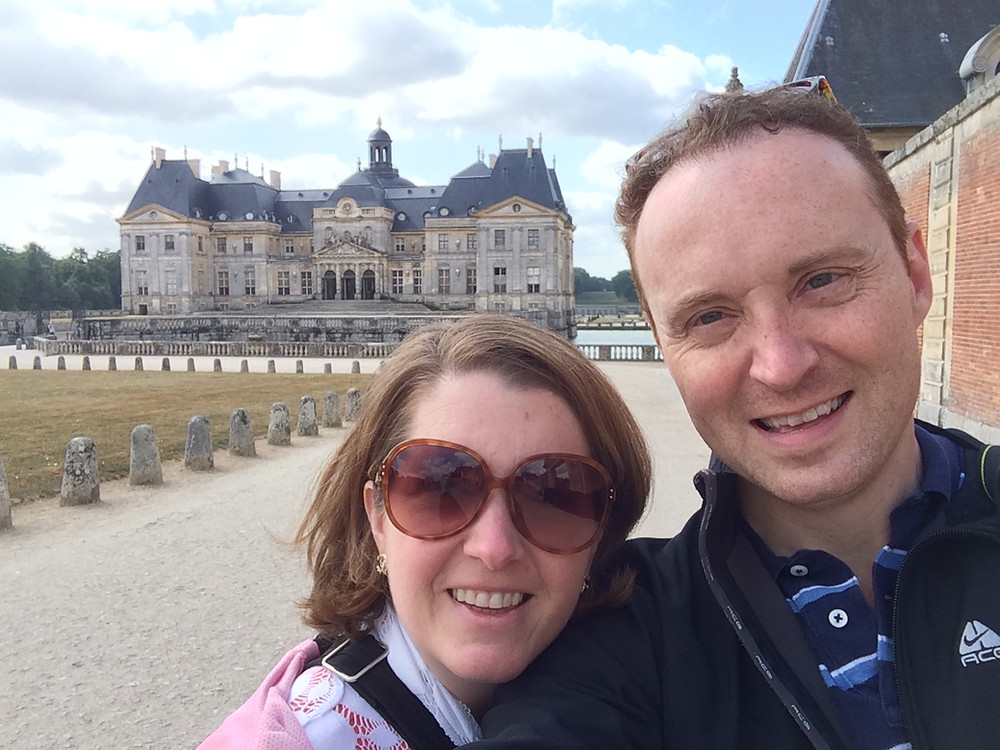 My wife and I (David and Robin Locke) at Vaux Le Vicomte