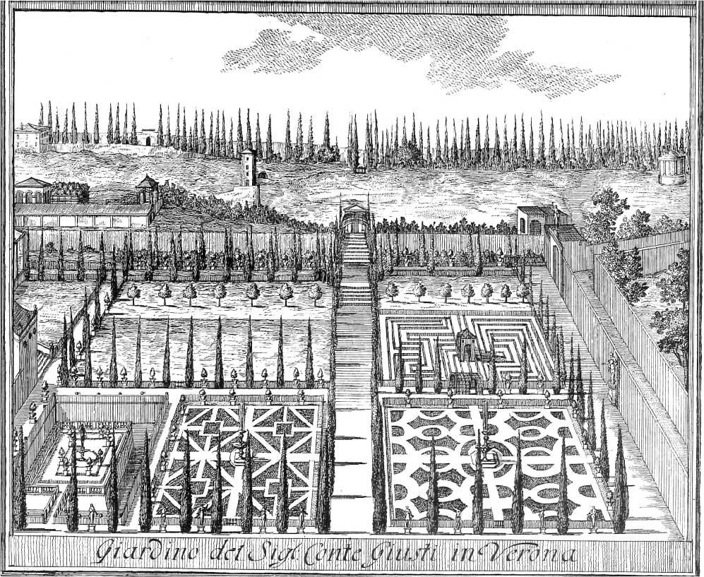 Engraving of Giardino Guisti from https://giardinogiusti.com