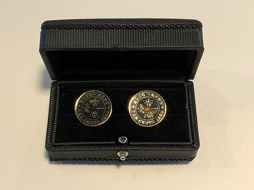 Set of 18k Gold Plated Cuff link - Hong Kong 10 Cents Coin (Black Face)