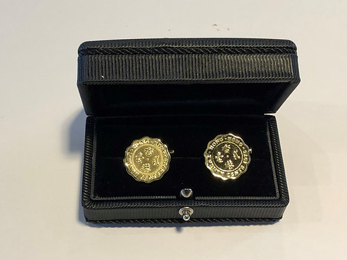 Set of 18k Gold Plated Cuff link - Hong Kong 20 Cents Scallop Edge Coin